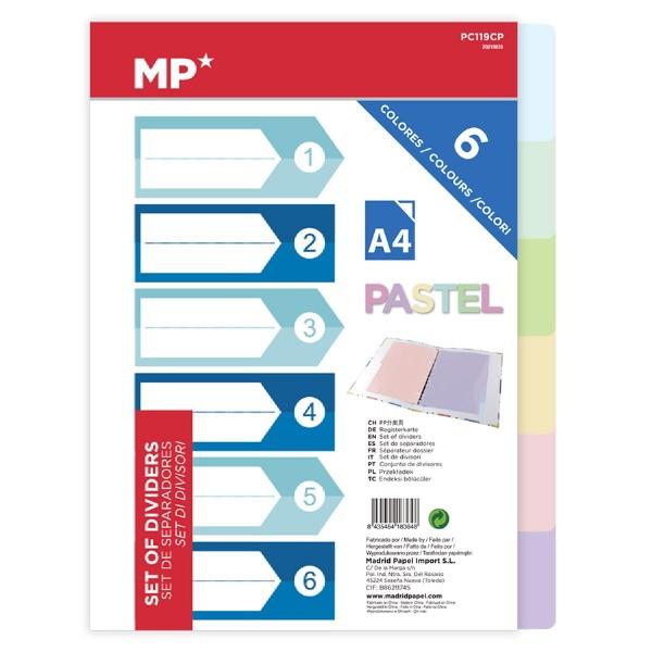 MP χρωματιστά διαχωριστικά φύλλα A4 PC119CP, πλαστικά, 6τμχ