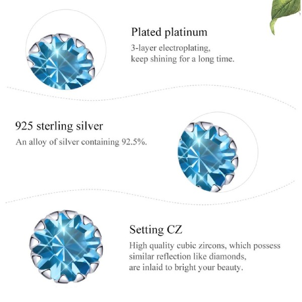 BAMOER σκουλαρίκια καρφωτά SCE862-12 με κυβική ζιρκόνια, ασήμι 925, μπλε
