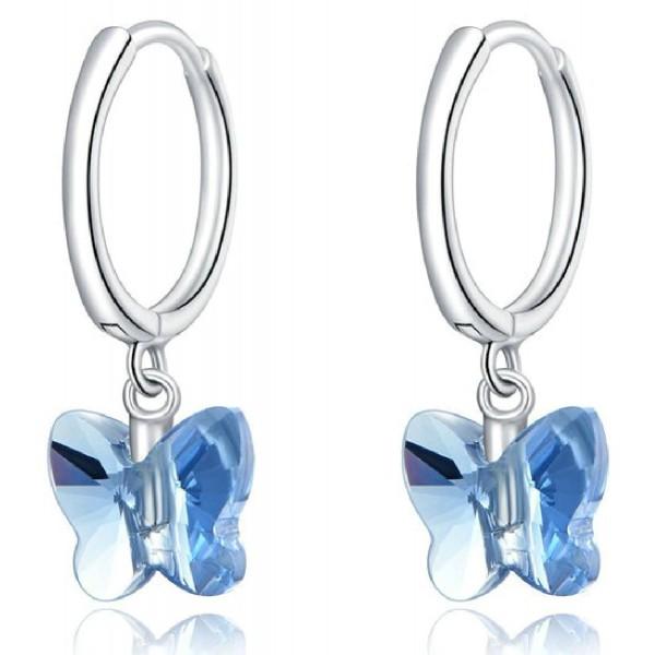 BAMOER σκουλαρίκια κρίκος πεταλούδα SCE959 με μπλε κρύσταλλο, ασήμι 925